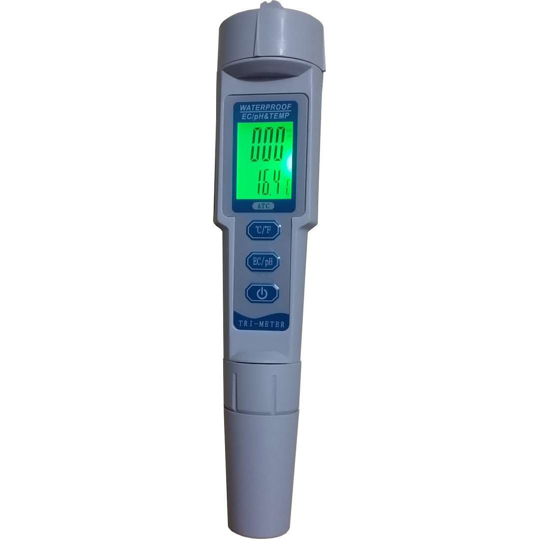 Combined pH, EC and temperature meter for water